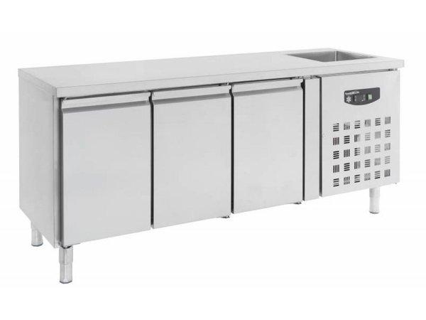 Combisteel Cool Workbench - Stainless Steel - 3 door - 202x70x (h) 96cm - With Sink