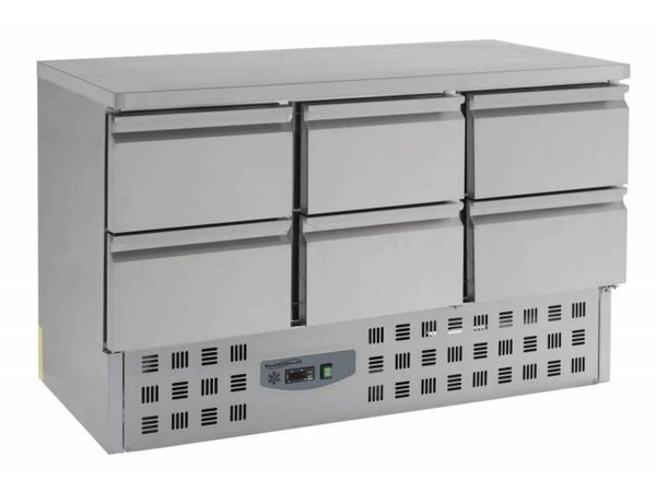 Combisteel Cool Workbench - Stainless Steel - 6 drawers - 136x70x (h) 87cm