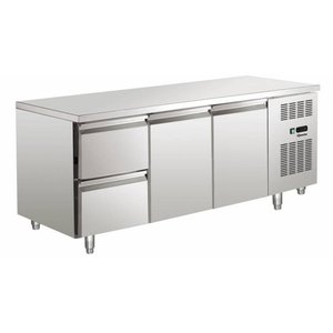 Bartscher Koelwerkbank - Stainless Steel - 2 doors and 2 drawers - 179x70x85cm