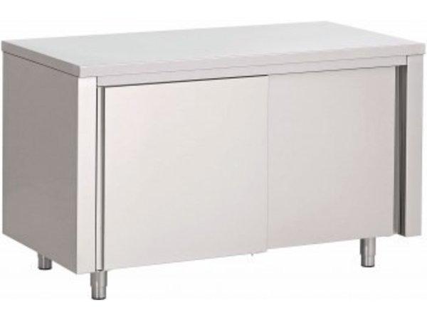 Combisteel Werktafel RVS + Schuifdeuren | 800(b)x700(d)mm | KEUZE UIT 6 BREEDTES
