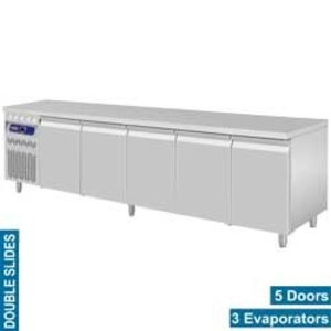 Diamond Koelwerkbank RVS - 5 Deurs - Motor Links - 2625x700x(H)850/900mm - Europees