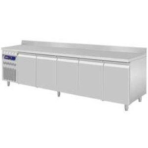Diamond Koelwerkbank RVS - 5 Deurs - Motor Links - Met Spatrand - 2625x700x(H)850/900mm - Europees