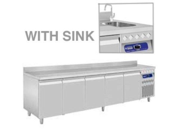 Diamond Cool Workbench RVS - 5 Doors - With Splash Edge - With Sink - 2625x700x (H) 850 / 900mm - European