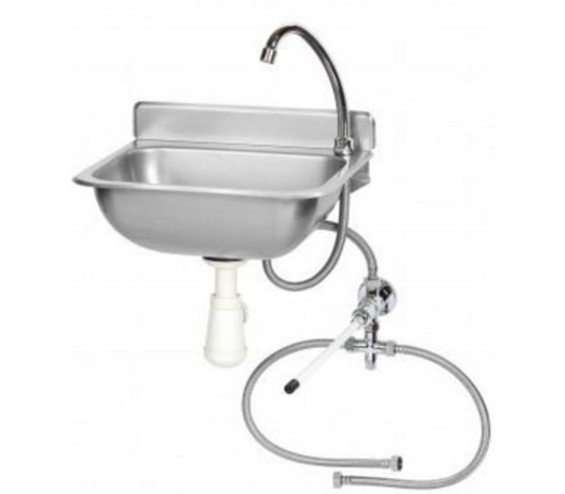 Saro Hand sink + Mixer | Stainless steel | with Knee Operation | 375x310x (H) 190mm