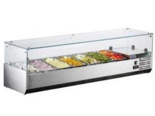 Saro Kühlvitrine Design mit Glasplatte - 7x oder 14x 1/3 GN 1/6 GN - 160x38x (H) 43.5 cm