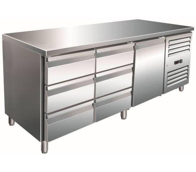 Saro Cool Workbench one door 6 drawers - 180x70x (h) 89-95cm