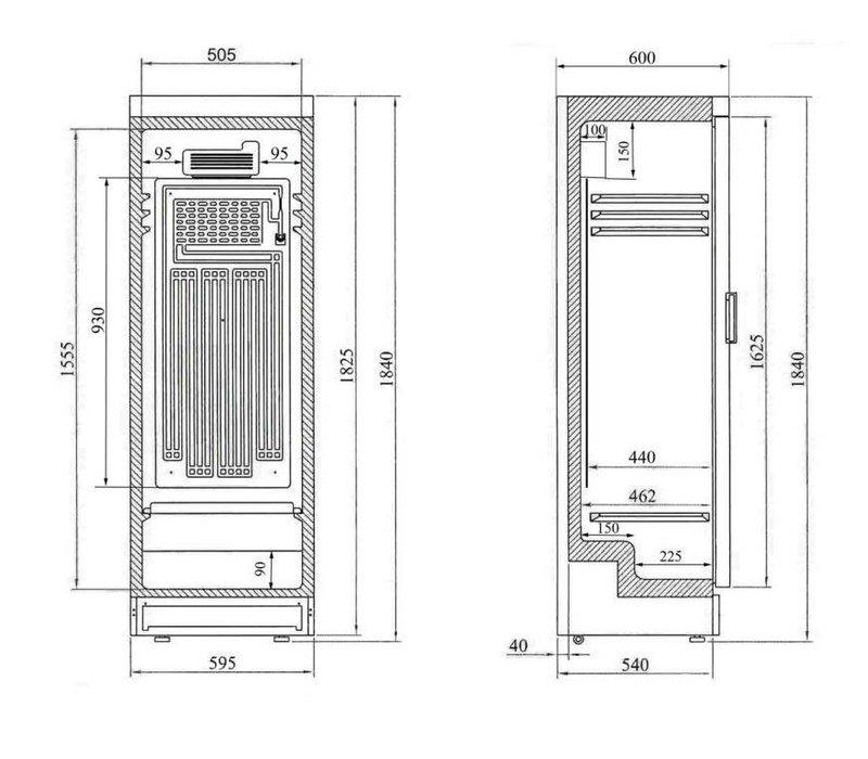 Diamond Refrigerator - 380 liters - Glass door - 59x60x (h) 184cm - Left and Right Revolving Door