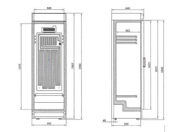 Diamond Koelkast - 380 Liter - Glazen deur - 59x60x(h)198cm- Omkeerbare Deur