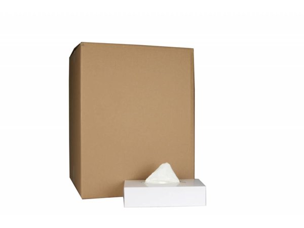 XXLselect Facial Tissues Vierkant | Cellulose 2 laags | 20,5 x 20,5cm | 40 x 100 in Doos | (ook Pallets) Prijs per 4000 Tissues