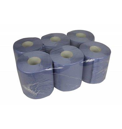 XXLselect Handtuchrolle Midi | blau | 2-Schicht | 20cm x 140 Meter auf einer Rolle | (Einschließlich Paletten) Preis pro 6 Rollen