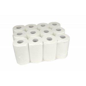 XXLselect Handdoekrol Mini   Cellulose   1 laags   20cm x 120 meter op Rol   (ook Pallets) Prijs per 12 Rollen