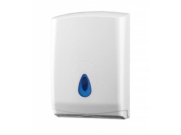 XXLselect Handdoekdispenser voor Gevouwen Handdoeken   Wit Kunststof