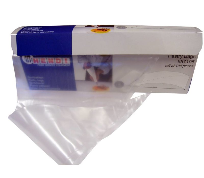 """Hendi Disposable piping bag 18 """"- Transparent - Roll of 100 pieces"""