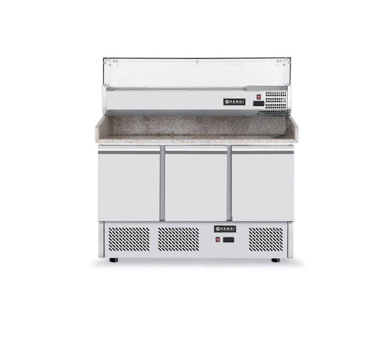 Hendi Pizza Saladette - Maschinen Bottom - 3 Tür - Höhenverstellbare Füße - 1365x700x (h) 850 mm