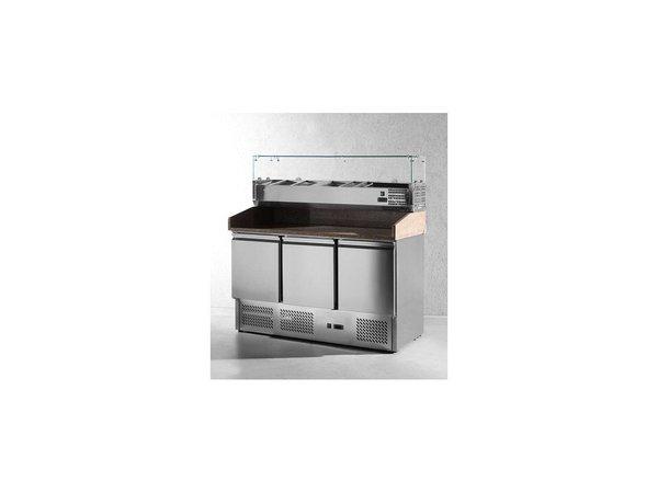 Hendi Pizza Saladette - Machine Onder - 3 deurs - Verstelbare poten - 1365x700x(h)850 mm