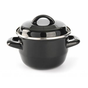 Hendi Soup saucepan black Ø135x (H) 60 mm | Enameled 0.6 Liter