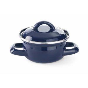 Hendi Soep- sauspannetje blauw Ø100x(H)60mm | Geëmailleerd 0,4 Liter