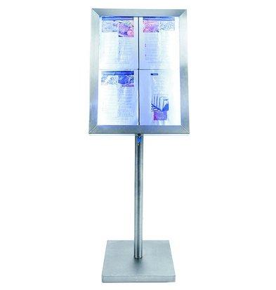 Securit Menü Schrank mit LED-Beleuchtung - Stainless Style - 4xA4 |