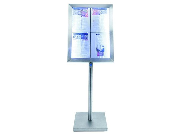 Securit Menu Schrank mit LED-Beleuchtung - Stainless Style - 4xA4