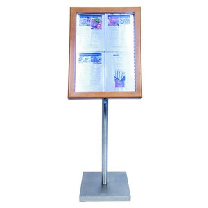 Securit Menu cabinet with LED lighting - Teak Wood Style - 4xA4