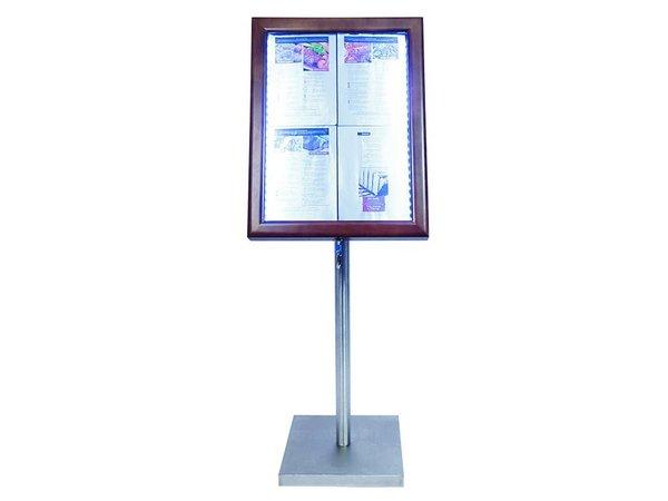 Securit Menu cabinet with LED lighting - Wooden style Dark Brown - 4xA4