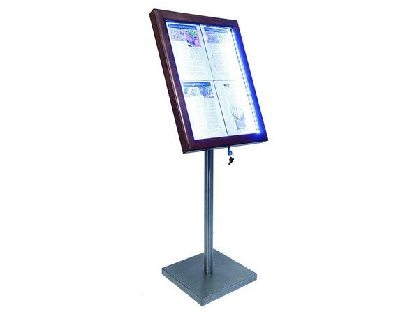 Securit Menu Schrank mit LED-Beleuchtung - Holz-Stil dunkelbraun - 4xA4