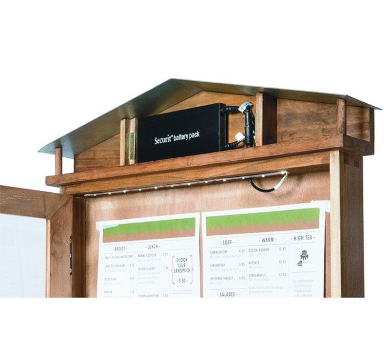 Securit Rustic Menukast met Ledverlichting - Houten Mahogany stijl - Zilver Display standaard - 4xA4