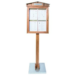 Securit Rustic Menu cabinet with LED lighting - Wooden Mahogany Style - Silver Display standard - 4xA4