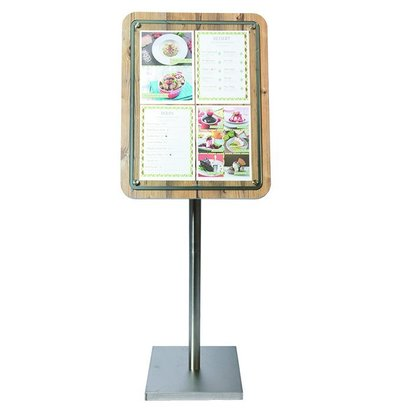 Securit Menu Cabinet with Glass Plate - Wood Oak style - 4xA4