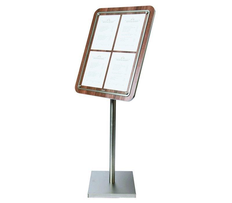 Securit Menu Schrank mit Glasplatte - Holz Walnut style - 4xA4