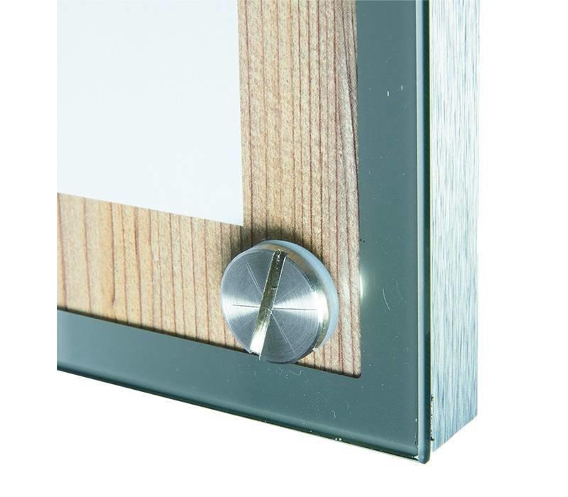 Securit Menukast met Glazen Plaat - Houten Oak stijl - A4