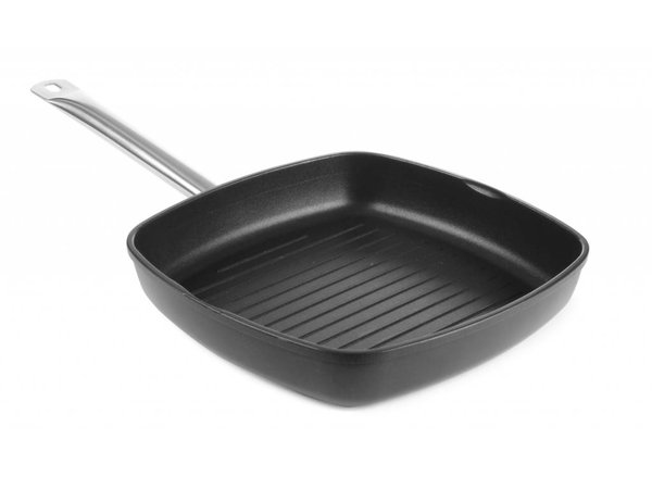 Hendi Cast aluminum grill pan   280x280x55 mm with stainless steel handle