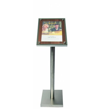 Securit Menukast met Glazen Plaat - Houten Walnut stijl - A4