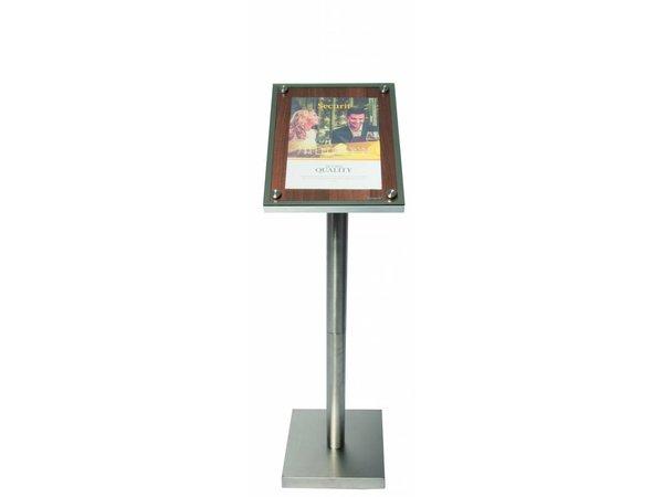 Securit Menu Schrank mit Glasplatte - Holz Walnut style - A4