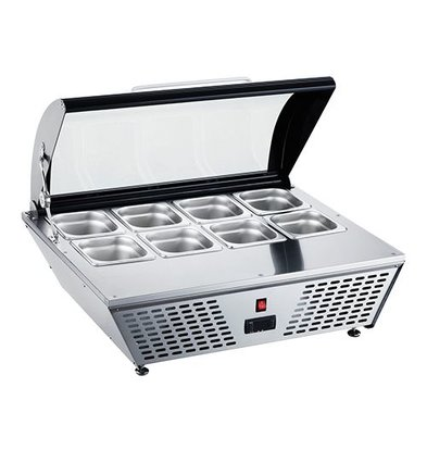 CaterCool Refrigerated display Stainless Steel Structure | 1 / 1GN / 1/3 GN | Thermostatic Adjustable | 77x62x (H) 33cm
