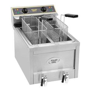 Roller Grill Fryer X-Long Kartoffel Twister | 400V | Ablassventil | 2x8 Liter | 40x60x (H) 45cm