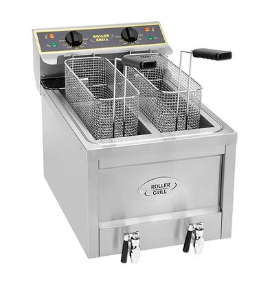 Roller Grill Fryer X-Long Potato Twister | 400V | Drain valve | 2x8 Liter | 40x60x (H) 45cm