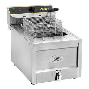 Roller Grill Fritteuse | Cool Zone | Ablassventil | 400V | 12 Liter | 40x60x (H) 45cm