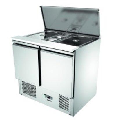 Bartscher Saladette 900T2   Luftgekühlte   Kondensatverdunster   260 Liter   900x700x (H) 870mm