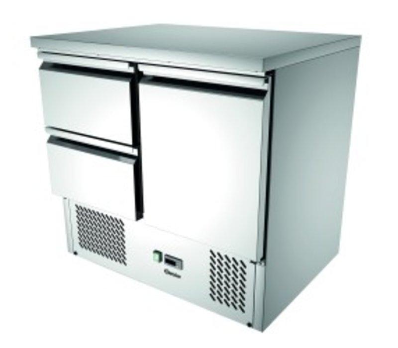 Bartscher Mini cool Workbench 900T1S2 | 1 Door + 2 Schubkästen | Luftgekühlte | 260 Liter | 900x700x (H) 870mm