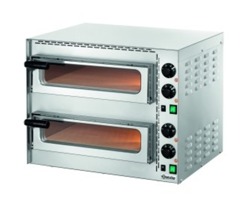 Bartscher Mini Pizza Oven | 2x1 Pizza Ø35cm | Adjustable temperature up to 400 C | 570x550x (H) 475mm