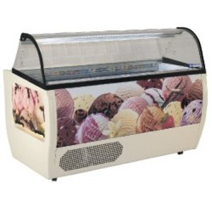Diamond Scoop ice cream display for Ice Cream | 13 Baking | -10 / -20 Degrees | Including Castors | 1775x930x (H) 1285mm