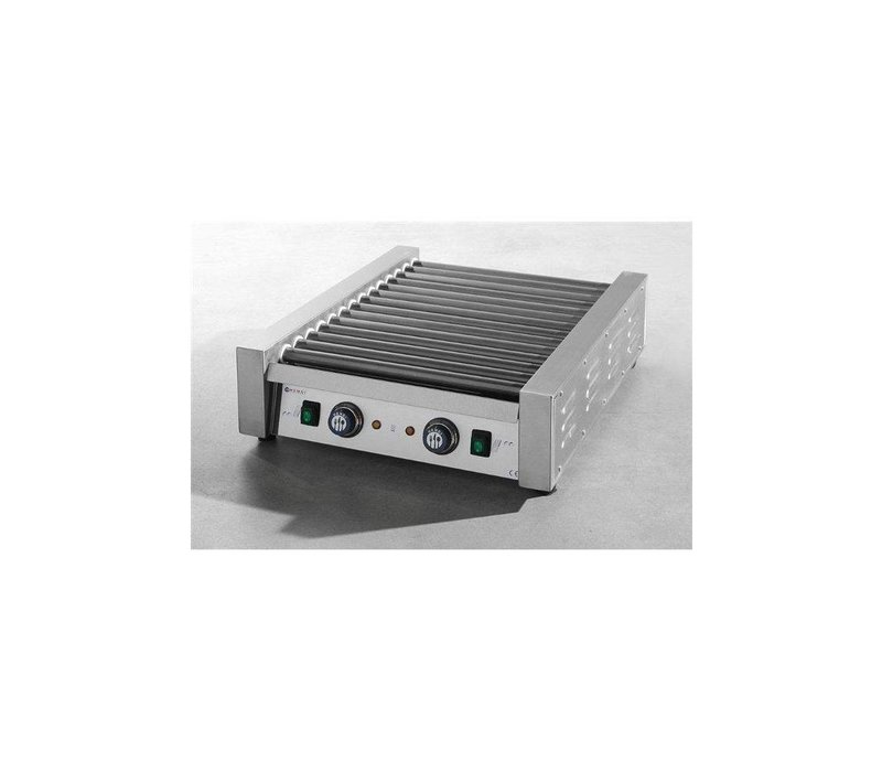 Hendi Roller Grill sausages - 14 Rollers - Stainless steel - 1120W - 520x591x (H) 175mm