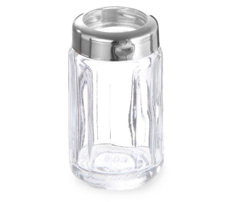 Hendi Zahnstocher Inhaber Glas   Mit Kappe aus Edelstahl   Pro 6 Stück   Ø40x (H) 70 mm