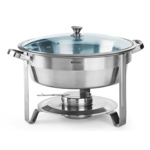Hendi Round Chafing Dish | With Glass Lid | 3.5 Liter | Ø390x (H) 270mm