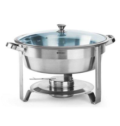 Hendi Ronde Chafing Dish   Met Glazen Deksel   3,5 Liter   Ø390x(H)270mm
