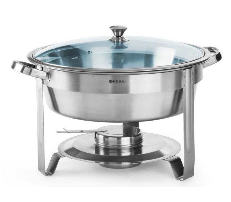 Hendi Round Chafing Dish   With Glass Lid   3.5 Liter   Ø390x (H) 270mm