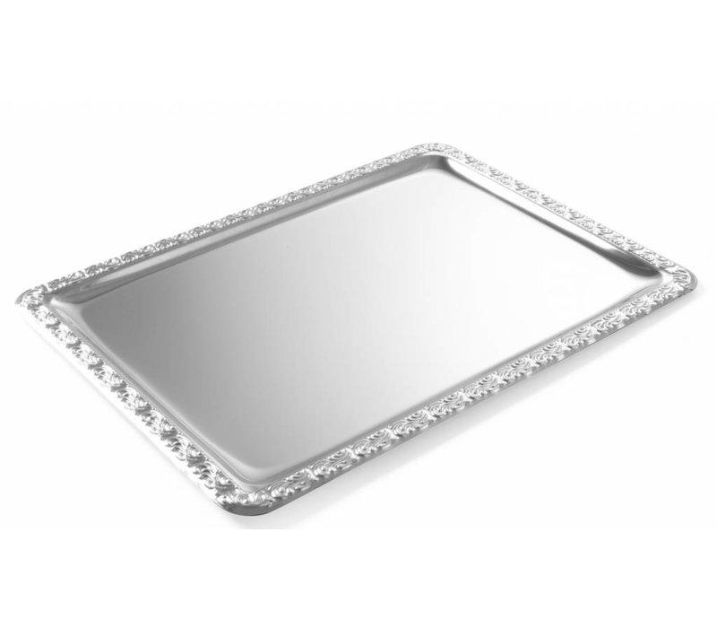 Hendi Plateau Rectangle | SR100 | Chrome steel with decor Ridge | 500x360mm | 500x360mm