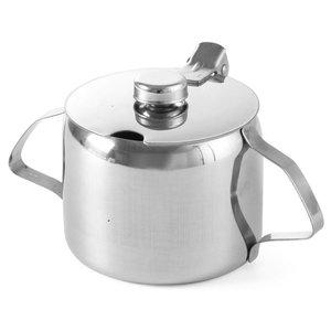 Hendi Zucker Jar Edelstahl | 0,3 Liter | Mit Deckel | Ø85x (H) 80 mm