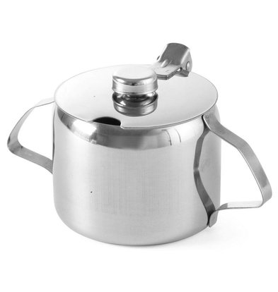 Hendi Sugar Jar Stainless Steel | 0.3 Liter | With Lid | Ø85x (H) 80mm